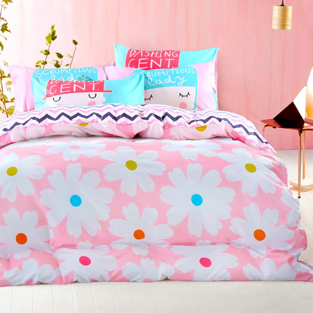 Grace Life 我的小確幸-花朵童話 精梳純棉雙人兩用被床包四件組