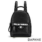達芙妮DAPHNE-潮流字母裝飾迷你雙肩後背包-黑