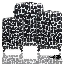 Just Beetle動物樂園系列之長頸鹿紋經典三件組輕硬殼旅行箱/行李箱-黑白色