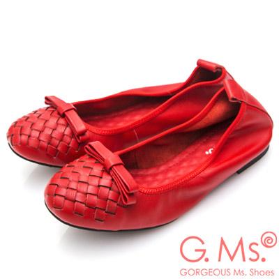 G.Ms. 牛皮編織蝴蝶結娃娃鞋-紅色