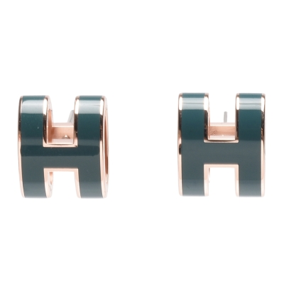 HERMES 經典POP立體H LOGO簍空橢圓穿式耳環 (藍綠X玫瑰金)