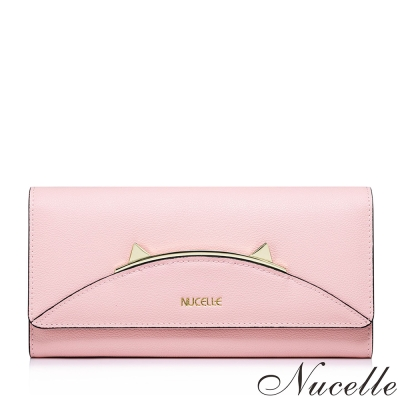 NUCELLE-真皮貓耳金屬框造型長夾-共2色