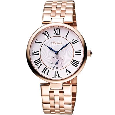 Standel 詩丹麗羅馬小秒針腕錶-白x玫塊金/ 38 mm
