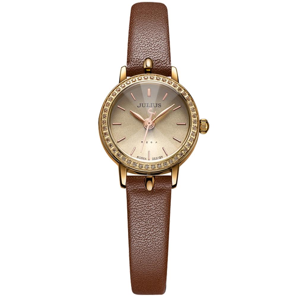 JULIUS聚利時 璀璨華爾滋鑽飾真皮腕錶-深咖/23mm