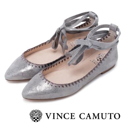 VINCE CAMUTO 簡約優雅  真皮質料素面綁帶平底鞋-錫色
