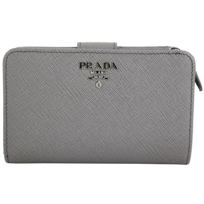 PRADA-Saffiano-銀字LOGO防刮牛皮釦式中夾-灰色