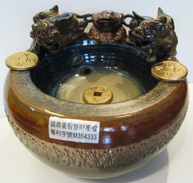 雙貔貅招財蟾蜍漩渦流水盆(小)聚寶盆 風水輪 時來運轉流水盆