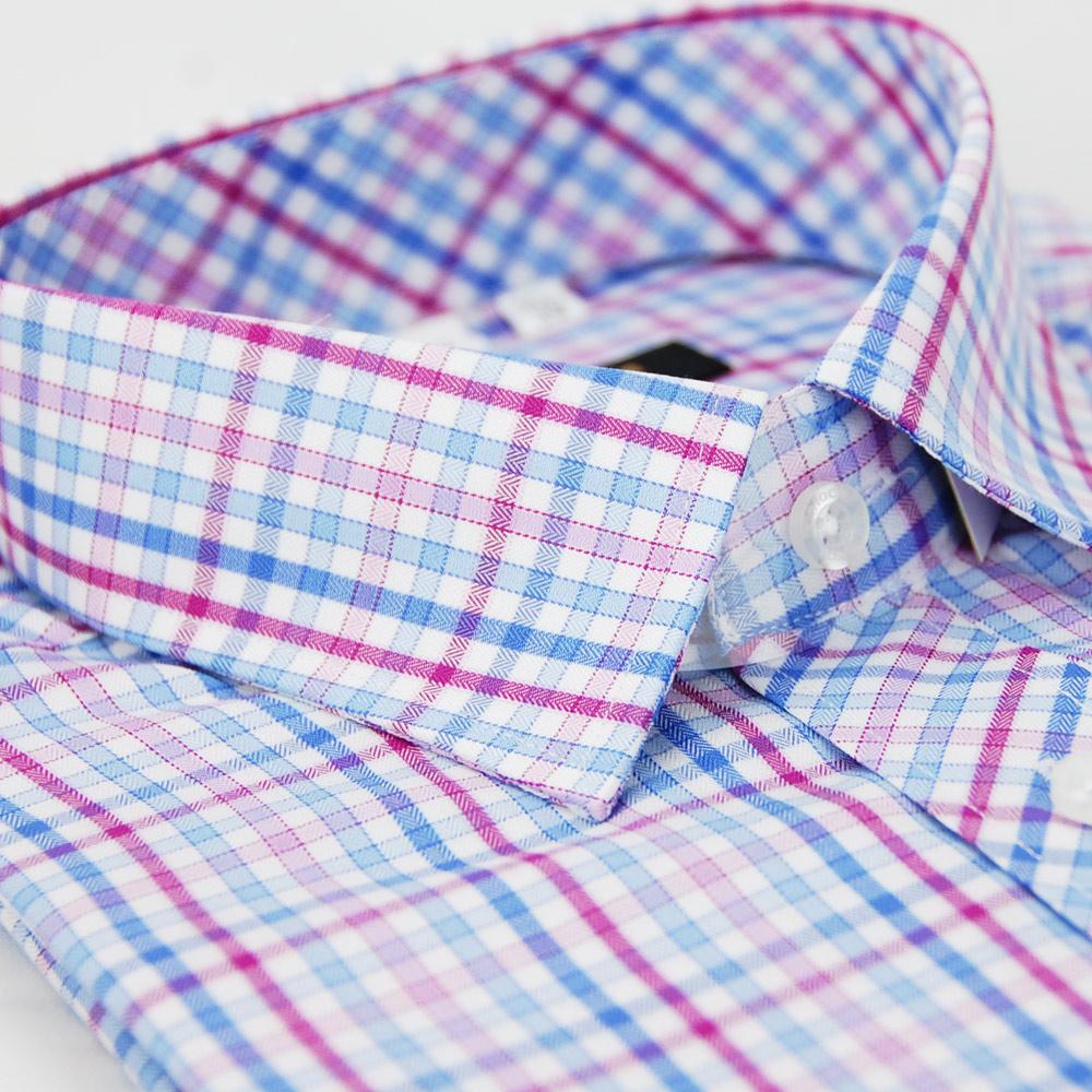 金‧安德森 粉藍格紋窄版短袖襯衫