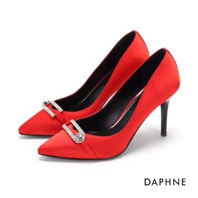 達芙妮DAPHNE 高跟鞋-絲光緞面水鑽橫釦高跟鞋-紅