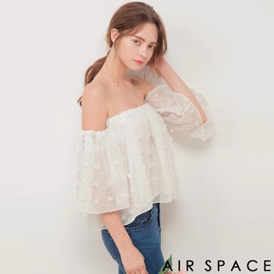 AIR SPACE 澎澎雪紡寬袖平口接袖上衣(白)