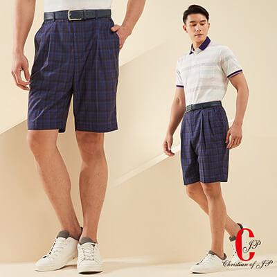 Christian-簡約細格紋鬆緊帶休閒短褲 藍咖啡格(CS607-2)