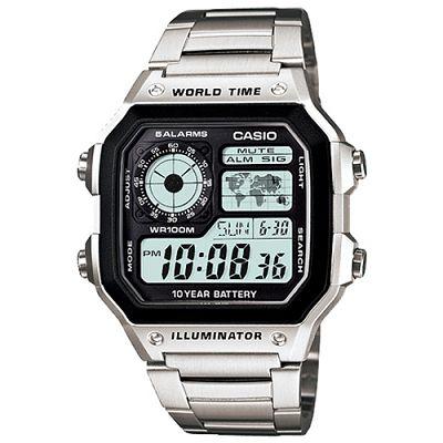 CASIO 世界地圖十年電力不鏽鋼數位錶(AE-1200WHD)-42mm