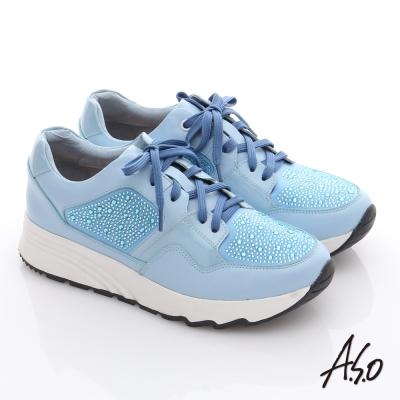 A.S.O 繽紛冒險 全真皮水鑽時尚健走鞋 淺藍色