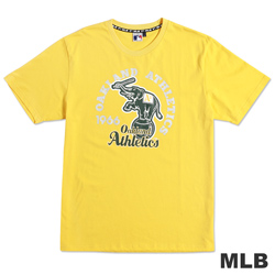 MLB-奧克蘭運動家隊經典隊徽LOGO印花T恤-黃(男)