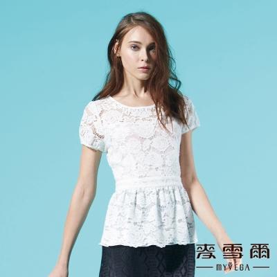 麥雪爾 圓領棉質花朵蕾絲縫珠上衣