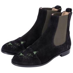 Charlotte Olympia CHELSEA CATS貓咪麂皮短靴(黑色)