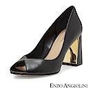ENZO ANGIOLINI--V型魚口金屬粗跟高跟鞋-質感黑