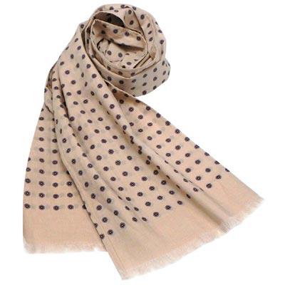 GUCCI 淺駝色紳士圓點純棉造型圍巾