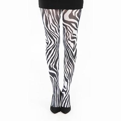 【摩達客】英國進口義大利製【Pamela Mann】黑白斑馬圖紋印花彈性褲襪