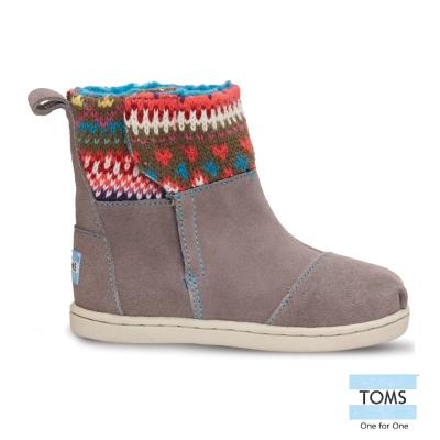 TOMS 圖騰針織拼接雪靴-幼童款(灰)