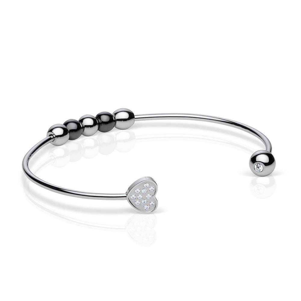 BERING丹麥精品 愛心雙色圓珠 可調整銀色手環