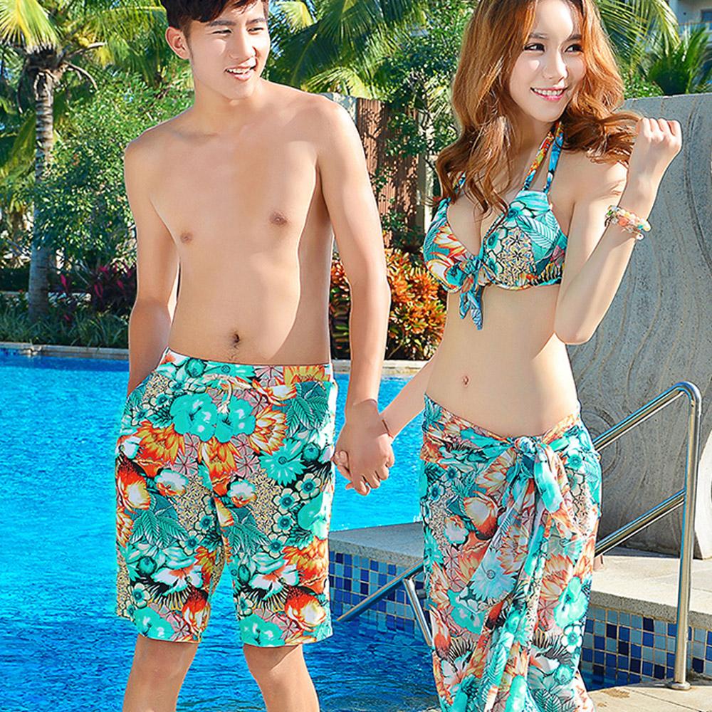 Biki比基尼妮泳衣,花草特別褲情侶泳衣加大比基尼(女生購買區)