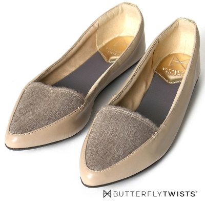 BUTTERFLY TWISTS-尖楦異材質拼接記憶軟墊平底鞋-貂灰