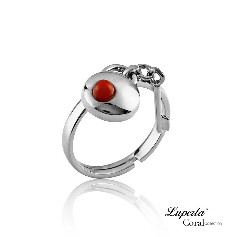 大東山珠寶 全紅珊瑚純銀戒指 誓約同心