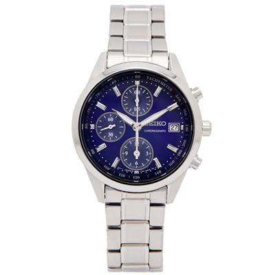 SEIKO 專屬女性時尚風計時手錶(SNDV53P1)-藍色面X銀色/36mm