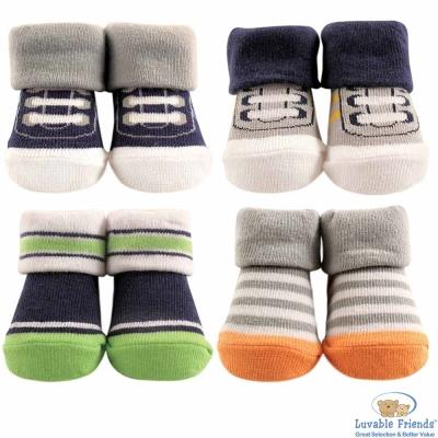 Luvable-Friends-綠橘灰條紋球鞋款嬰兒襪童襪4件組