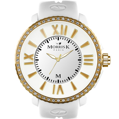 MORRIS K「獨一無二」晶鑽限量錶款-白+金框/45mm
