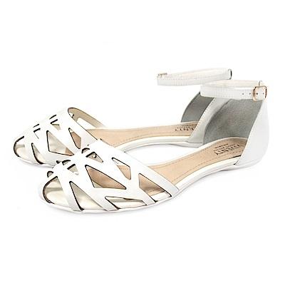 Tino Bellini巴西進口網狀鏤空繫踝平底涼鞋_ 白