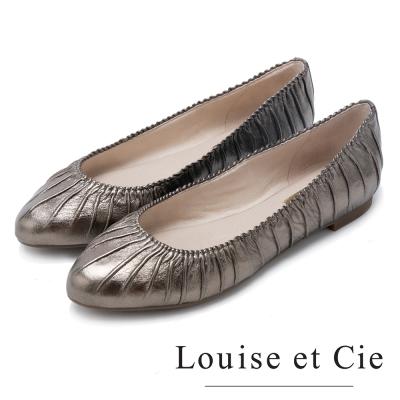 Louise et Cie 魅力美學 真皮舒適抓皺平底鞋-金色