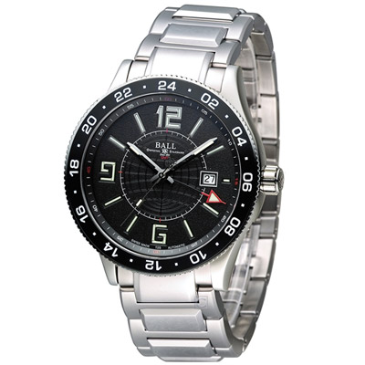 BALL 波爾 Engineer GMT 兩地時間飛行機械腕錶-銀色/44mm