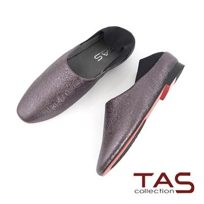 TAS 金屬感水晶牛皮懶人踩腳包鞋-時尚灰