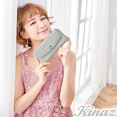 KINAZ 甜美記憶ㄇ字型長夾-星砂灰-鑰匙系列-快