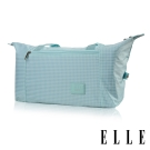 ELLE 輕旅休閒可掛式摺疊收納尼龍手提行李包-格紋綠
