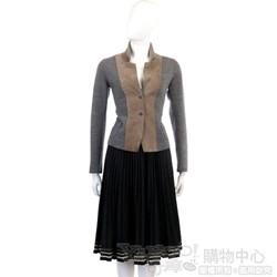 BLANCS MANTEAUX 鐵灰色毛料百褶裙