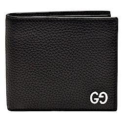 GUCCI 經典銀色金屬G LOGO荔枝紋牛皮折疊短夾(黑-4卡)