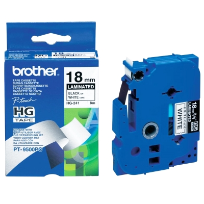 Brother HG-241 高速列印護貝標籤帶 ( 18mm 白底黑字 )