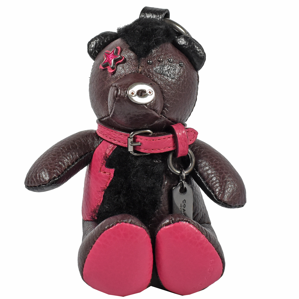 COACH BEAR 熊熊造型鑰匙圈(深咖紫/桃)COACH