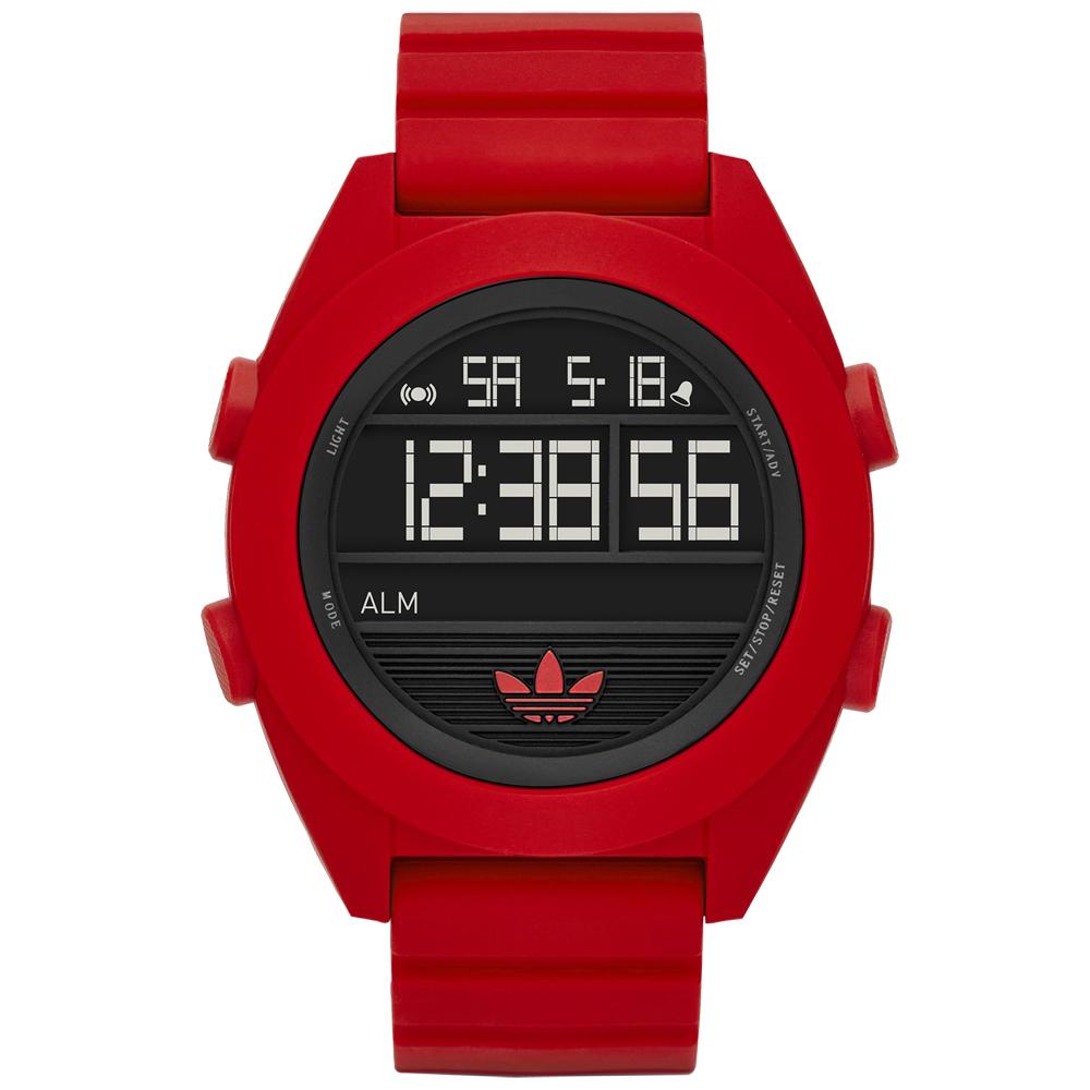 adidas線條創造三葉圓框數位腕錶-紅色48mm