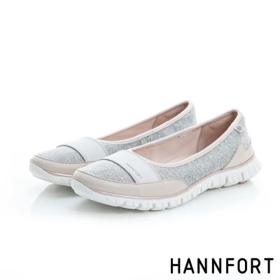 HANNFORT ZERO GRAVITY輕柔布面氣墊休閒鞋-女-淺灰粉8H