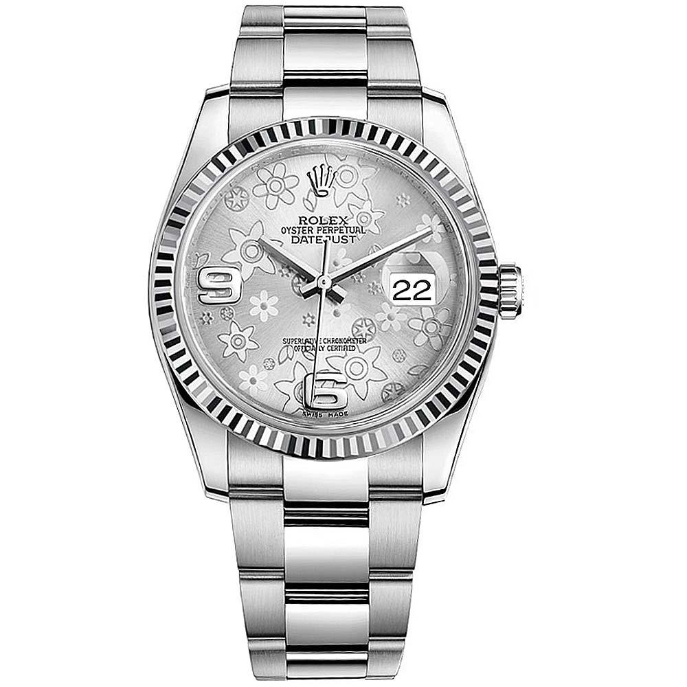 ROLEX 勞力士 Datejust 116234 蠔式日誌型機械錶-銀色小花面/36mm