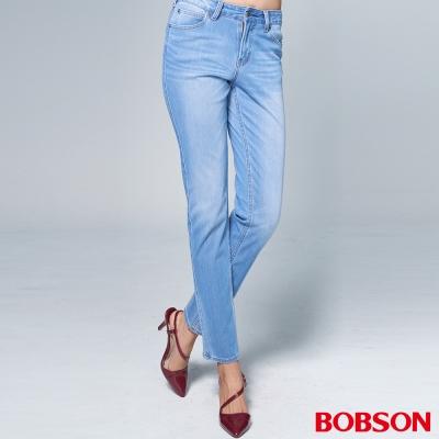 """BOBSON 女款1971""""日本黑標""""針織水藍窄管褲"""