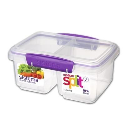 【Sistema】紐西蘭進口雙格收納扣式保鮮盒850ml