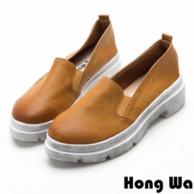 Hong Wa率性女孩刷色粗跟樂福鞋-質感棕