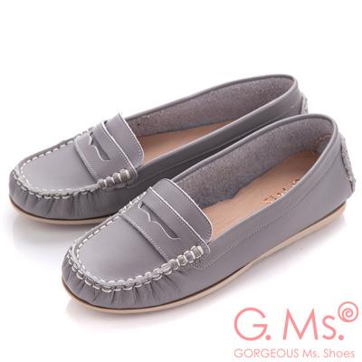 G.Ms. MIT系列-專利水洗皮革手工全真皮樂福鞋-氣質灰