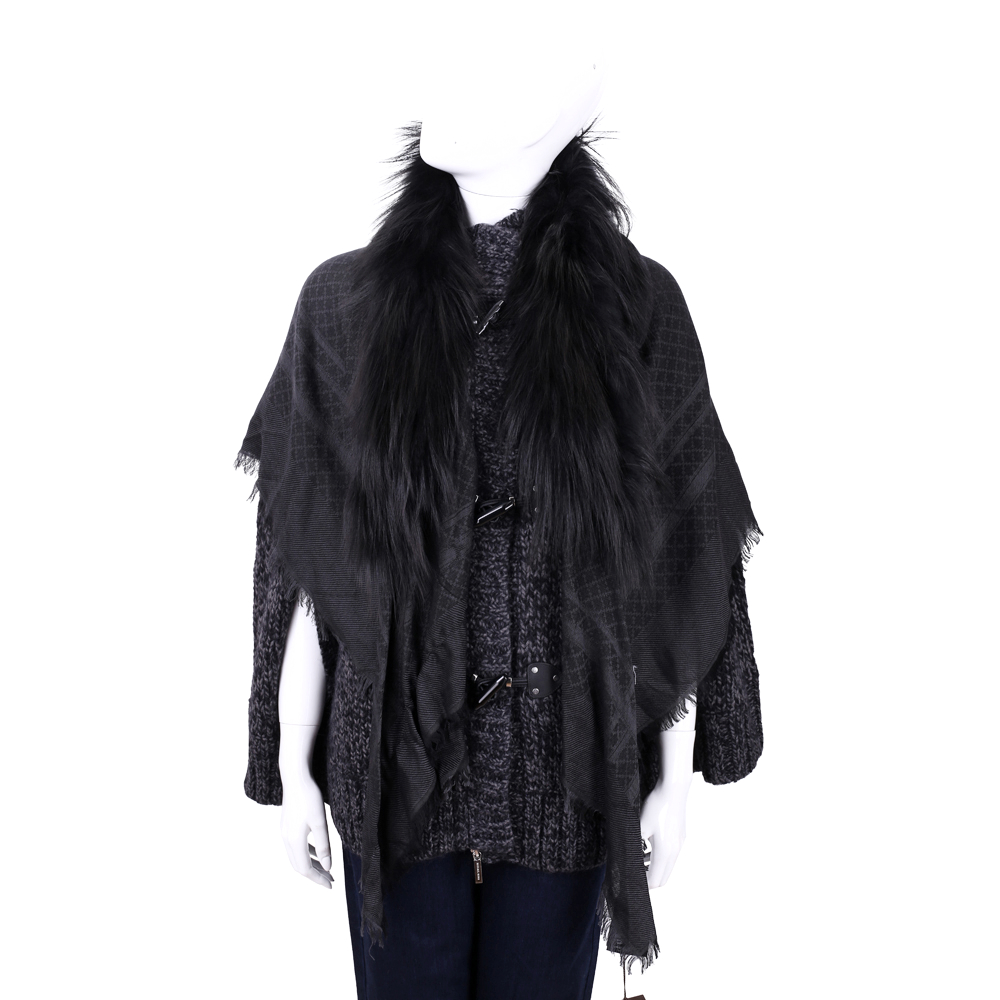 GUCCI 黑色鑽石織紋狐狸皮草飾邊披肩(35%LANA)