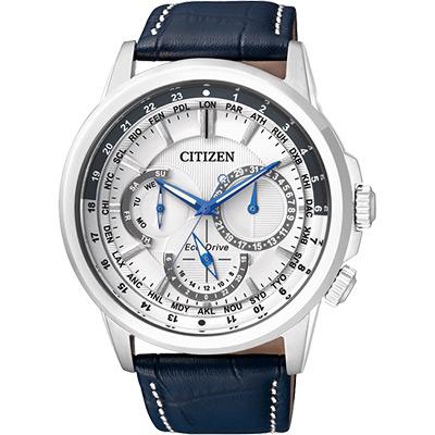 CITIZEN 環保光動能日曆腕錶(BU2020-11A)-白x藍/44mm